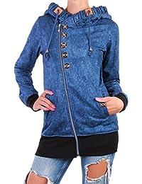 Damen Sweatjacke Jacke Jeans Look Übergangsjacke Kapuzenjacke Zip Hoodie ☆E5-1