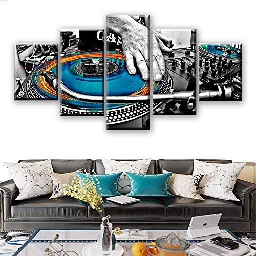 MIYCOLOR Home Dekorative Leinwand 5 Stücke Hand Platte DJ Musik Konsole Instrument Poster Moderne Wanddekor Bilder Wandkunst, Gerahmte 40X60 40X80 40X100 cm -