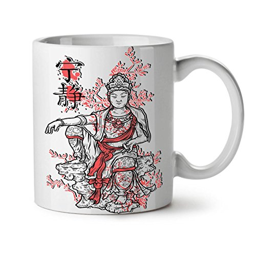 Wellcoda Buddha Göttin China Asien Japan Weiß Tee Kaffee Keramik Becher 11 OZ