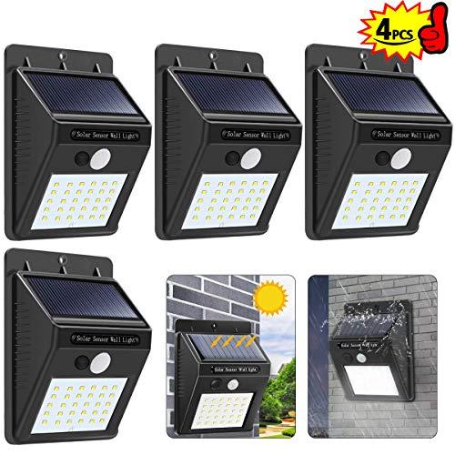 XIANRUI 4Pack 30 LEDs Solarleuchten Solarlampen für Außen mit Bewegungsmelder Solar Beleuchtung wasserdichte Wandleuchte Solarlicht