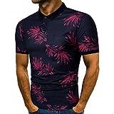 T Shirt Herren, HUIHUI Coole V-Ausschnitt Kurzarm Sweatshirt Slim Fit Basic uv Polo-Shirt Mode Sport Oberteile Oversize Bench Tops CC Man's Sommer Freizeit Hemd Poloshirt (M, Rot)