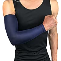 Ndier Protección UV para manga de brazo, Manga de brazo Manga elástica y funda de respiración, Manguitos de protección para el brazo en deporte - Azul oscuro, XL