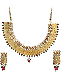 Zeneme Traditional Red And Green Temple Coin Necklace Set / Jewellery Set With Earrings For Women …