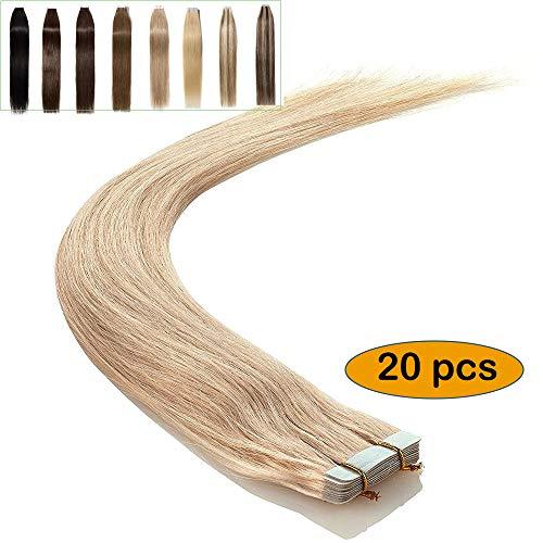 "14""/35CM Extensiones Adhesivas Natural [ 2.5g * 20 Pieces ] [ #613 Blanqueador Rubio ] Tape in Human Hair 100% Pelo Humano"