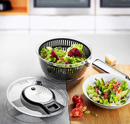 Gefu 28150 - centrifuga per insalata speedwing con colino per l'acqua e una ciotola per insalata