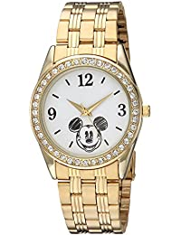 Disney Women's 'Mickey Mouse' Quartz Metal and Stainless Steel Casual Watch, Color:Gold-Toned (Model: WDS000382)