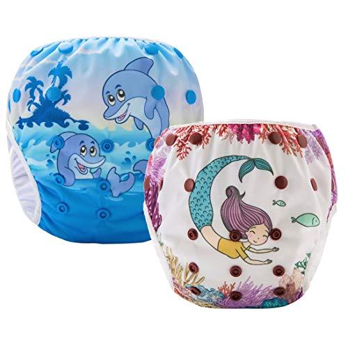 Pannolini Piscina Costume Contenitivo Neonato Bambino Riutilizzabili Pannolini da Nuoto Mare E Piscina Baby 0-36 Mesi Slip Cover Lavabile Spiaggia 3-15 kg Costumino Bimba Set 2
