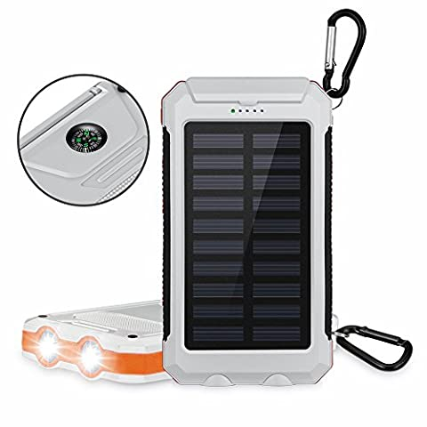 Aedon 10000mAh Solar Charger Backup External Battery Power Bank - Dual USB Solar Panel Charger with 2LED Light Carabiner Compass Portable for Emergency Outdoor Camping Travel, Ideas for Christmas Gift (White)