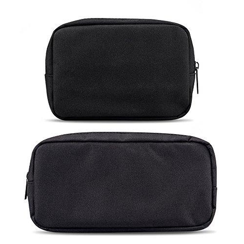 ercrysto Universal Elektronik/Zubehör Weiche Tragetasche Tasche, langlebig und leicht, geeignet für ausgangdatei, Business, Reisen und Kosmetik Kit Small+Big-Black -
