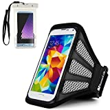 Running Bag SumacLife Arm band Mesh Pouch Great for Bike Cycle Jogging Hiking Traveling Ideal for ZTE Blade A520 / V8 Lite / Mini (Black/Gray) Plus A Waterproof Sleeve