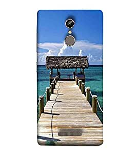 For Gionee S6 beautiful pier, pier, jhopadi, sea, river, blue sky, cloud Designer Printed High Quality Smooth Matte Protective Mobile Pouch Back Case Cover by BUZZWORLD