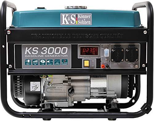 Könner & Söhnen KS 3000E Stromerzeuger, 7 PS 4-Takt Benzinmotor, Kupfer Alternator, E-Start, 3000 Watt, 16A, 230V Generator, für Kleinhaus, Garage oder Camping