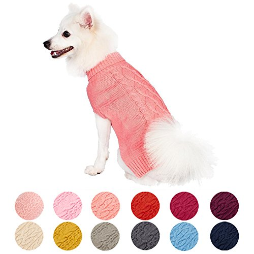 Blueberry Pet Dog Apparel Clothes Jacket & Sweatshirt Classic Cable Knit Pet Jumper