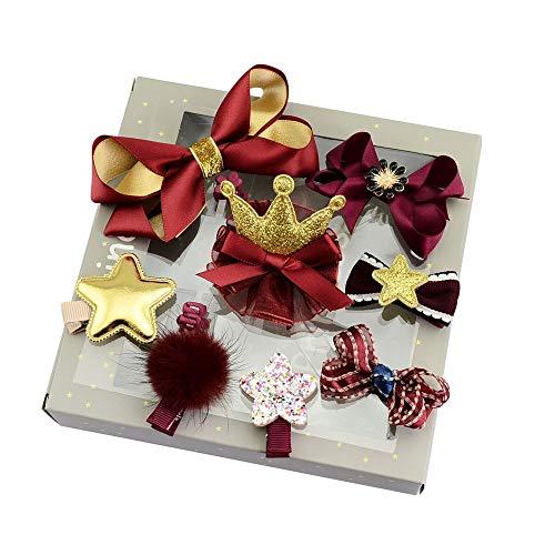 (Peng sounded High-End-Boutique Weibliche Baby-Sicherheitstasche Clip Haarschmuck Haarnadel Schmuck Geschenk Box Zehn-Stück-Anzug. (Farbe : Gold))