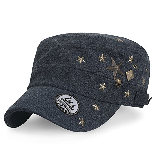 ililily Baumwolle Militär Brass Studs Kadett Cap Flex-fit Armee Stil Hut , Dark Grey (Stil Air Schwarz Flug Force)