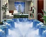 Yosot 3D Bodenbelag Tapete Kundenspezifisches Foto Selbstadhäsion Material 3 D Bergwald Wasserfall Malerei 3D Wall Room Murals Tapete-300cmx210cm