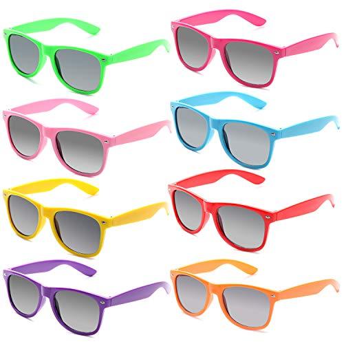 FSMILING Neon Farben Party Gefälligkeiten Herzform Sonnenbrille Set für Kinder Erwachsene (8 Stück Mehrfarbig)