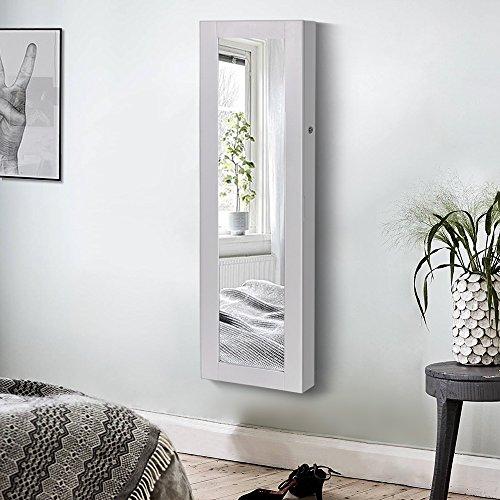 Songmics JBC24W Schmuckschrank und Wandspiegel zwei in einem, weiß, 36 x 120 x 9,5 cm - 3
