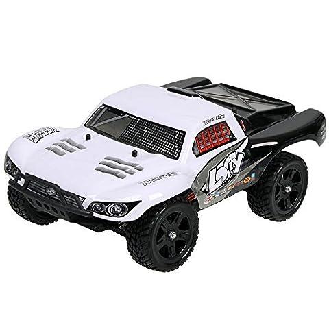 HUKOER RC Auto - Fernsteuerungsauto Hochgeschwindigkeits Vierradantrieb-Geländefahrzeuge 2.4GHZ Elektro Buggy Hobby Auto(FÜNF GESCHWINDIGKEIT / AUTO) - 1:16 Schnelle Race Truck -RC Car (Weiß)
