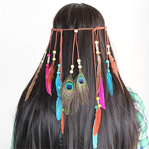 Bonita Diadema de Plumas de fantasía Boho Headwear Indian Headdress Collar Cinturón Hippie Head Pieces Accesorios para el Cabello Mascarada Dress For Party Pinza de Pelo Vintage para