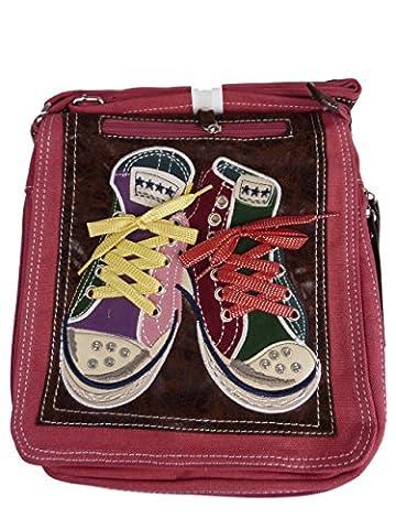 DAVID D. 7015-2 kleine Umh�ngetasche mit chucks, Turnschuhtasche, 25x28x8cm rot