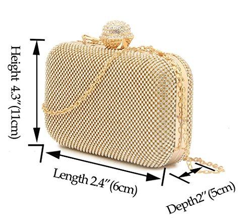 LeahWard Damen Diamante Sparkly Kristall Ring Abendtasche Für Hochzeits Abschlussball Brautnacht heraus CWE07 (Gold Diamant) Gold