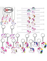 Konsait Unicorn Party Favors (30pack) Unicorn Keychains Rubber Unicorn Bracelet Wristband Unicorn Necklace Children Kids Girls Birthday Gift Party Bag Fillers Unicorn Party Supplies