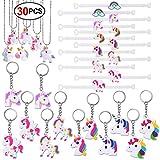 Konsait Einhorn Schlüsselanhänger (12pcs) PVC Gummi Einhorn armbänder (12pcs) Einhorn Halskette (6pcs) für Kinder mädchen party Mitgebsel Kindergeburtstag geschenktüten