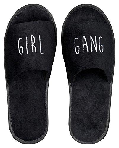 Wellness-Slipper offen mit weißer GIRL GANG Bestickung in schwarz, 1 Paar
