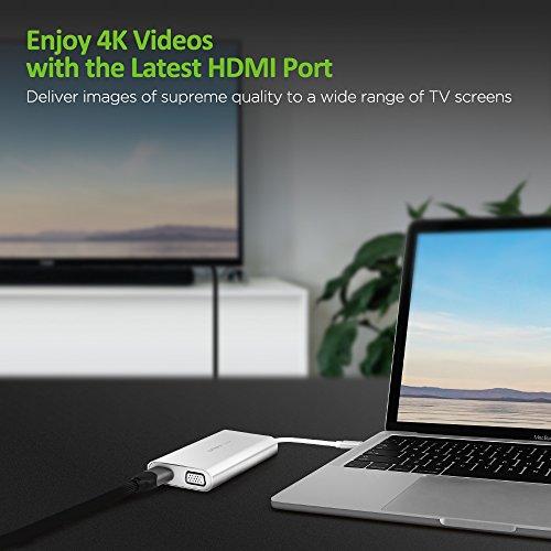 USB C Hub OMARS (6-in-1) mit Ladeanschluss, HDMI 4K, VGA, RJ45 Gigabit Ethernet 1000 Mbps, 2 x USB 3.0, USB C Adapter für z.B. MacBook Pro 2017 / 2016, Huawei Matebook, Google Chromebook Pixel, S8 usw