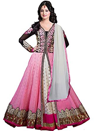 Grapsy Fashion Women's Net Salwar Suit Dress Material (Ruhani_MIX_Pink)
