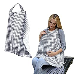 Unisex Baby Nursing Cover For Breastfeeding, Accmor Multi-use Wide Hooter Hider Breastfeeding Cover with Storage Pockets, Organic Cotton Breathable Car Seat Canopy-Shopping Cart Cover(Grey Chevron)