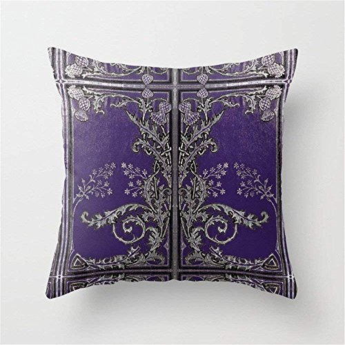 NasNew Blue and Silver Thistles Cushion Cover Throw Pillow Case 18x18 inch International Silver Magnolia