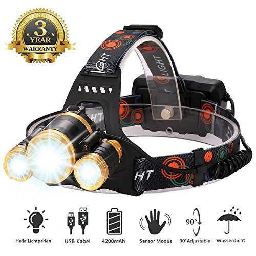 LED Stirnlampe Wasserdicht, USB Wiederaufladbare LED Kopflampe, 3000 Lumen Superheller Kopflampe mit 5 Licht-Modi, Perfekt für Laufen, nachtangeln, Campen usw