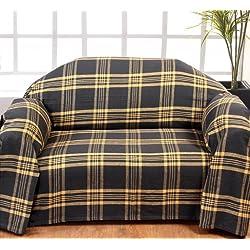 Homescapes Funda de sofa gris a rayas amarillas de 150 x 200 cm en 100% Algodon