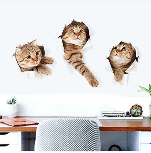 DecoBay Kreative 3D Katze Wandaufkleber Wandtattoo für Kinderzimmer, Wohnzimmer, Küche, Kühlschrank Wandabziehbild