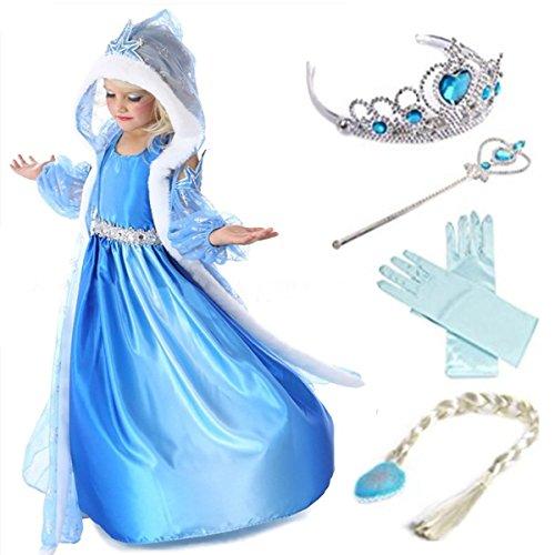 YOGLY Mädchen Prinzessin Elsa Kleid Kostüm Eisprinzessin Set aus Diadem, Handschuhe, Zauberstab, 110, ()