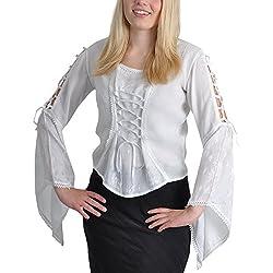 Blusa medieval disfraz con remaches delanteros y en las mangas brazo trompeta elegante blanco