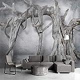 HONGYAUNZHANG Graue Baum Pflanzen Benutzerdefinierte Fototapete 3D Stereoskopischen Wand Wohnzimmer Schlafzimmer Sofa Hintergrund Wandmalereien,60Cm (H) X 80Cm (W)