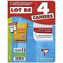 Clairefontaine Cahier Piqre Lot de 4, 170 x 220 mm Sèyës VE = 1