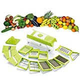 #7: Shraddha 15 in 1 Chipser | Fruit & Vegetable | Graters | Slicer | Dicer | Cutter | Chopper ABS Body and Heavy Stainless Steel Blades (Green)