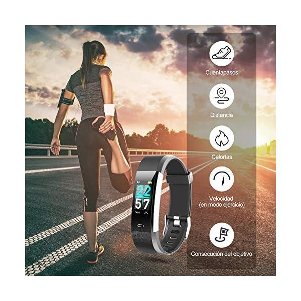 Glymnis Pulsera de Actividad Inteligente Pulsera Deportiva IP68 con 14 Modos de Deporte Notificaciones Monitor Rítmo Cardíaco y Sueño para Hombre Mujer Niño Compatible con iOS y Android 4