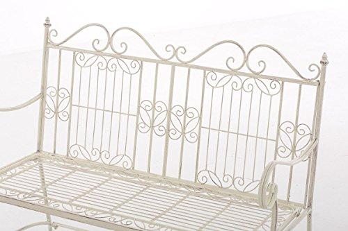 CLP Eisen-Gartenbank ADELE im Landhausstil, aus lackiertem Metall, 107 x 54 cm Antik Creme - 4
