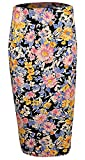 Womens Ladies High Waist Floral Aztec Printed Pencil Midi Skirt Plus Size