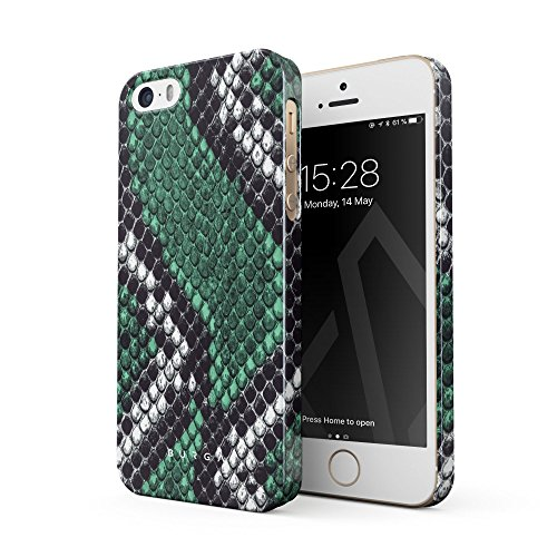 BURGA Hülle Kompatibel mit iPhone 5 / 5s / SE Handy Huelle Grün Schlangenleder Smaragd Kobra Wild Green Snake Skin Dünn, Robuste Rückschale aus Kunststoff Handyhülle Schutz Case Cover (Leopard Handy Cover Für Iphone 5)