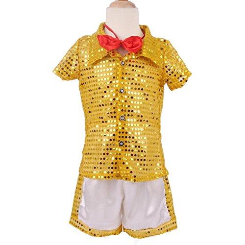 Wgwioo Kindergarten Kinder Student Kollektiv Moderne Tanz Show Kostüm Jungen Mädchen Wear Kids Bühne Aufführungen Cheerleading Gruppe Match Kleidung (Packung Mit 2) , Yellow , (Dance Für Modern Jungen Kostüme)