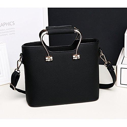 BYD - Pell Donna Handbag borsa a Spalla Borse a mano Tote Bag Shoulder Bag con maniglia in metallo Nero