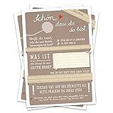 Hochzeitsspiel für Gäste | 52 Postkarten - Schön, dass du da bist - Beige | Spiel mit witzigen Fragen & zum Zeichnen | Recyclingpapier Partykarten & Postkartengruß