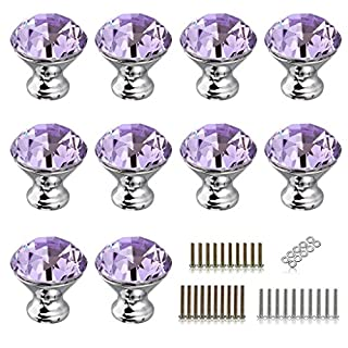 IGNPION Drawer Door Knobs 30mm Crystal Glass Bathroom Vanity Dresser Nightstands Cabinet Pull Handles with 3 Set Screws (10 Pcs) (Purple)