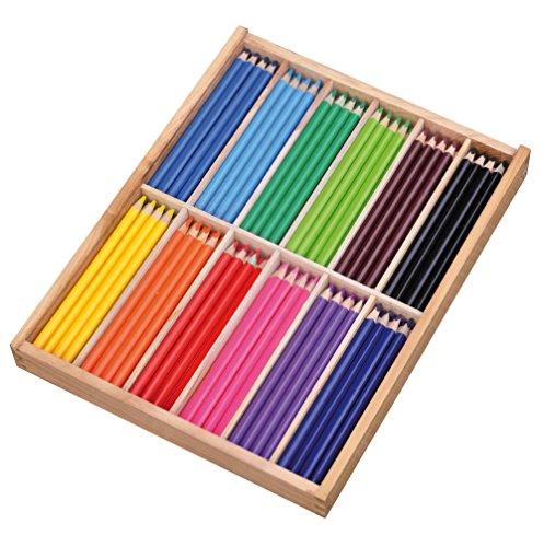 PLAYBOX dreieckig Farbe Holz Bleistifte in Box, verschiedene Farben (144Stück)